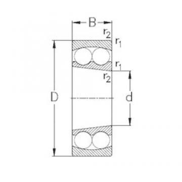 45 mm x 100 mm x 25 mm  NKE 1309-K Rolamentos de esferas auto-alinhados