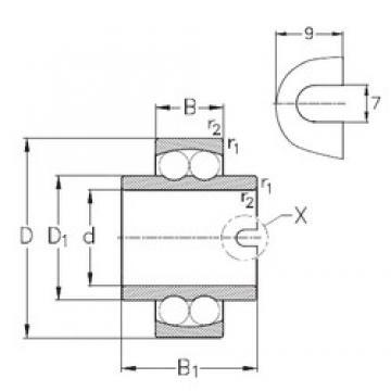 45 mm x 100 mm x 60 mm  NKE 11309 Rolamentos de esferas auto-alinhados