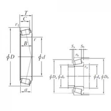 187,325 mm x 319,964 mm x 85,725 mm  KOYO H239649/H239610 Rolamentos de rolos gravados